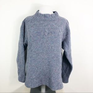 Vintage Chunky Cable Knit Sweater High Neck L